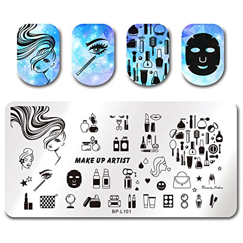 Born Pretty Nail Art Stamping Plate Makeup Facemask Lipstick Women Daily Manicure Print Template Image Plate - Animal Print Halloween-make-up