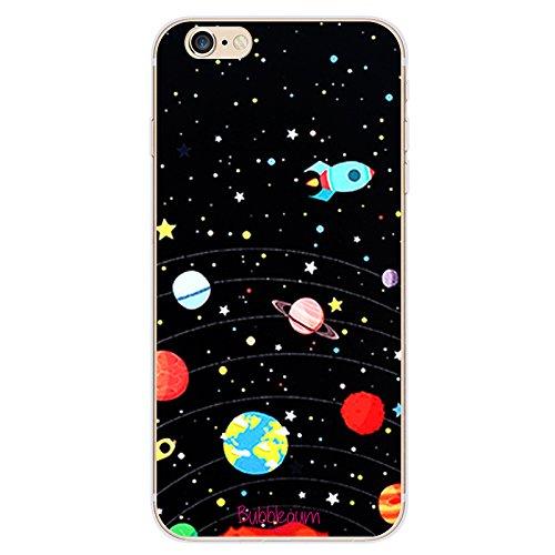 Bubblegum® pour modèles iPhone cas vaisseaux spatiaux Collection–Housse de protection souple en gel artistique en TPU, 4: Earth Rocket, iPhone 5C 6: Black Space