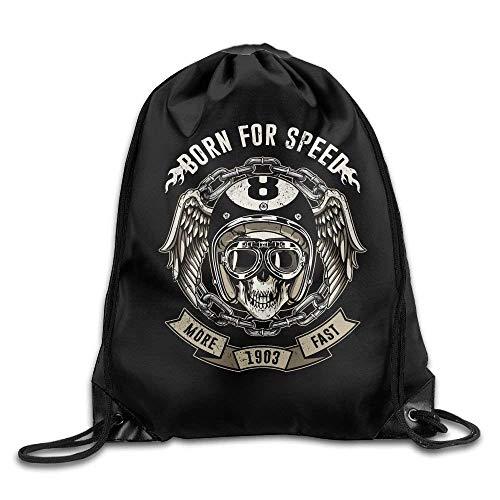 ZHIZIQIU Unique Gym Sack Bag Drawstring Backpack Sport Bag for Men & Women | School Travel Backpack for Kids - (Motorcyclist Skull - Black) - Black Velvet Sheer