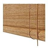ZEMIN Bambus Rollo Bambusrollo Innen/Außen Installieren Weberei Sonnencreme Vorhang Anpassbar Handheben, 3 Farben, 22 Größen