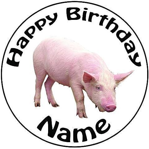 Personalised Pig–Topper per torta a pre-cut rotondo 8