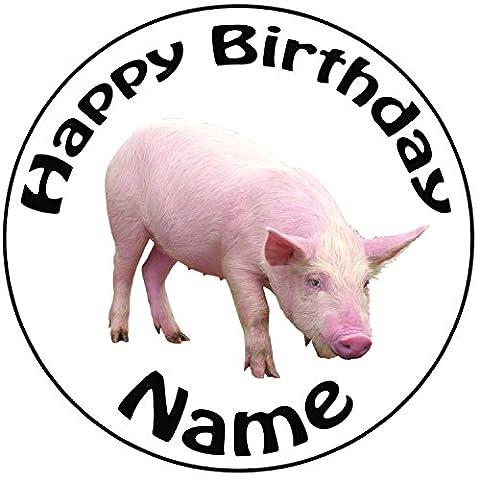Personalisierter Schwein Zuckerguss Kuchen Topper / Kuchendekoration - 20 cm Großer Kreis - Jeder Name Und Jedes Alter