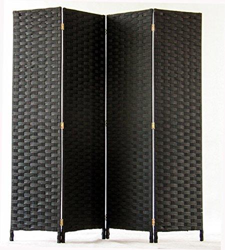 PEGANE Biombo de Fibras Naturales de 4 Paneles, Color Negro - Dim : A1