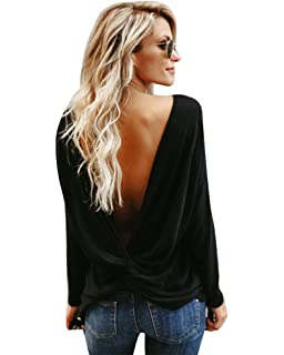 27eaa06b1700 Imixcity Femmes Tops T-Shirts à sans Manches Ruched Dos Nu Occasionnels  Open Back Top