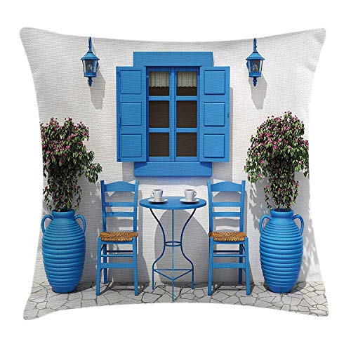 shizh Dekokissen Kissenbezug Traditionelles griechisches Design-Feiertags-Sommerhaus blüht Fenster-Bild Decor Square Accent Pillow Case 45 x 45 cm