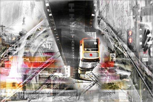 Leinwandbild 60 x 40 cm: Wuppertal Abstrakte Collage Skyline von Städtecollagen - fertiges...