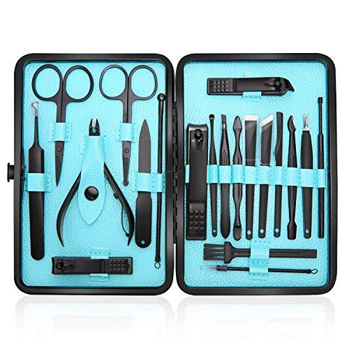 Profesional Cortaúñas Acero Inoxidable Grooming Kit - Set de 20 Piezas para Manicura y Pedicura Limpiador...