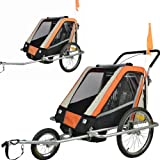 Remolque de bici para niños completamente amortiguado con kit de footing, color: naranja 503-03