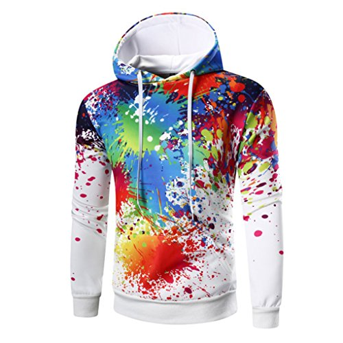 Vovotrade ❀❀2017 Neuestes buntes Mens 'Digital Druck langes Hülsen mit Kapuze Sweatshirt (Size:40(XL), Weiß) (Druck-blouson)