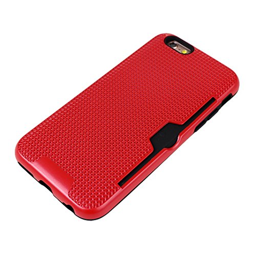 iPhone 6S Plus Hartschale, iPhone 6 Plus Hartschale, iPhone 6S Plus Full Body Case, iPhone 6 Plus 3 in 1 Hülle, Moon mood® 3 in 1 Anti-Fingerprint Kratzfeste Kunststoff Harte Rückseite Case Bumper Sch A Rot