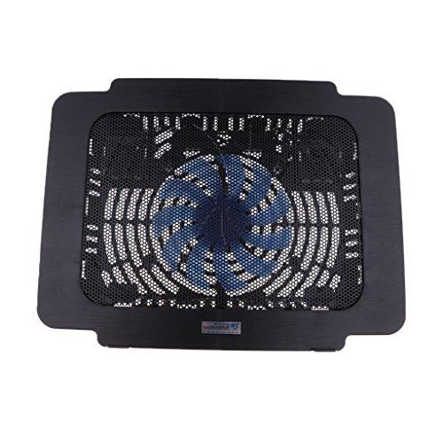 H HILABEEin Lüfter Laptop Cooling Pad Cooler Mat Ständer, 5VDC Thin Cooler Radiator Black -
