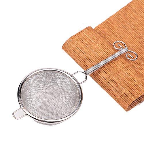 Edelstahl Tee Filter, feine Mesh Langstiel Tee-Ei Teesieb Ball-Ei Tee Steiler Tee Schaufel für Matcha Pulver lose Teeblätter silber