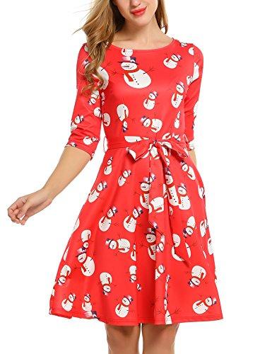 Beyove Damen Elegant Weihnachten Kleid 3/4 Arm Rockabilly Kleid Partykleid Cocktailkleid Festliches Kleid mit Gürtel (S, Rot Weiß)