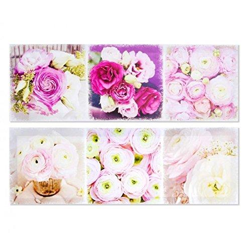 Set 2 cuadro de flores romántico lila de lienzo para dormitorio de 60 x 20