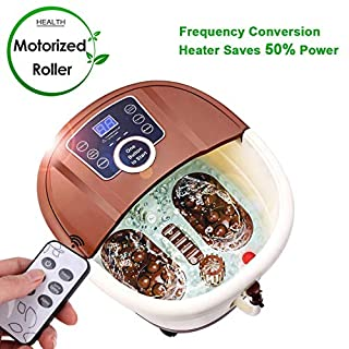 ANCHEER Foot Spa Bath Massager with Heat,16 Pedicure Spa Motorized Shiatsu Roller Massaging Acupuncture Point, Frequency Conversion, O2 Bubbles, Adjustable Time & Temperature with Remote Control