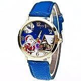 Upxiang Mode Weihnachten Ältere Muster Uhren, Vogue Quartz Analog Lederband Uhren, Damen Uhren, Frauen Weihnachten Vogue Uhren (Blau)