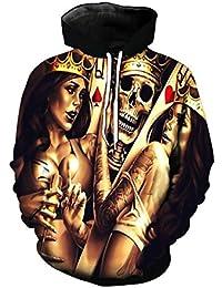 Tefamore Camisas para Parejas,Sudaderas Mujer Hombres Estampado de Calaveras, Sudadera con Capucha y Manga Larga,…