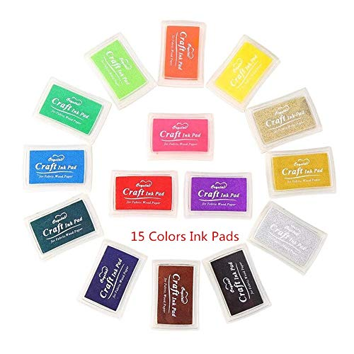 ZARRS Stempelkissen 15 Farben,Stamp Pad Fingerdruck, Stempelkissen Gummistempel für Papier Handwerk Stoff Für alle Kunst- und Bastelstempel aus Gummi