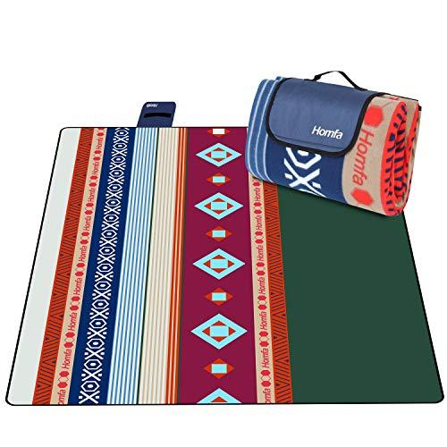 Homfa Coperta per Picnic 200 x 200 Tappeto Impermeabile Grande Pieghevole Portable Tre Strati Picnic Stuoie per Spiaggia Campeggio Giardino