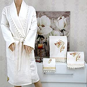 Peignoir + 3 serviettes 100% coton dentelle écrue * Belinda *