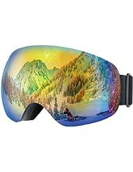 TopElek Skibrille Snowboardbrille Snowboard Skibrillen,Anti-Fog UV400 Schutz Weitwinkel mit abnehmbaren Extra große Linse, VLT 16.6% für Damen Herren und Jungen