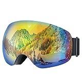 Occhiali da Sci Topop Adulti Snowboard Occhiali da Sci, Unisex Neve Occhiali con Anti-fog e Trattamento di Protezione UV400, Super-grandangolo e Sferica Lente, per Uomini e Donne, Blu