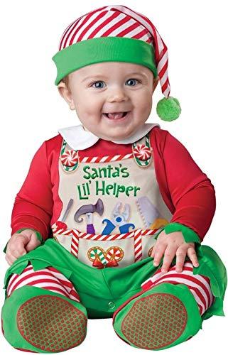 Santas Kostüm Kleiner Helfer - Deluxe Baby Jungen Mädchen Santa's Kleine Helfer Elfe Weihnachten Charakter Kostüm Kleid Outfit - Grün, 12-18 Months