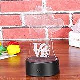 LEDMOMO 3D Lampe Nachtlicht Stimmungslicht Tischlampen Deko Herzen - 5