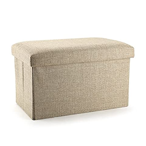 Mee'life Ramie cotton fabric Folding Organizer Storage Ottoman Bench Cube Foot Stool Footrest Step Stool For Living Room Bedroom Office Garden Traveling Fishing Camping Easy Assembly
