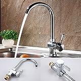 Auralum® 360° Drehbar Wasserfall Mischbatterie Armatur Chrom Wasserhahn für Küche Küchenamatur Waschbecken