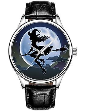Lovache Damenuhr Armband Schwarz Arbeiten Analoge Quarz-Armbanduhr Schöne Hexe unter hellen Mond