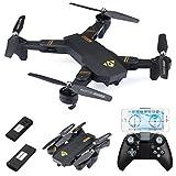 Virhuck 720P RC Drone Quadcopter Pliable 2X Batteries 900mAh, Lentille Grand Angle 720P / WiFi FPV / Maintien de l'Altitude / Mode sans Tête / Mode Haute et Basse Vitesse / Mode G-capteur