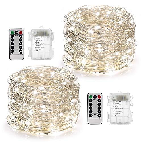 LED Lichterkette,Huttoly Batterie Lichterketten Außen,2 Stück 10M 100er LED Kupferdraht Lichterkette 8 Modi,Timer-Fernbedienung und IP65 Wasserdicht für Outdoor,Garten,Weihnacht (Weiß) (Outdoor-weißen Lichterketten)