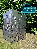 Gartendeko Fockbek Feuerkorb inkl. Ascheschublade und Zwischenboden sehr stabil Maße ca. 40 x 40 x 60 cm (Motiv Trecker 3 mit Ladewagen/Silowagen)
