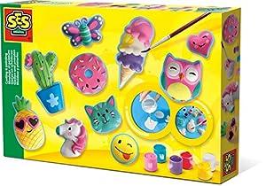 SES Creative Moldear y Pintar - Figuras Felices - Kits de Pintura y Modelado para niños (6 Pieza(s), Multi, 5 año(s), 300 mm, 40 mm, 200 mm)