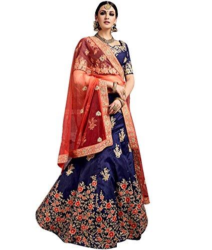 Indian Ethnicwear Bollywood Pakistani Wedding Royal Blue A-Line Lehenga Semi-stitched