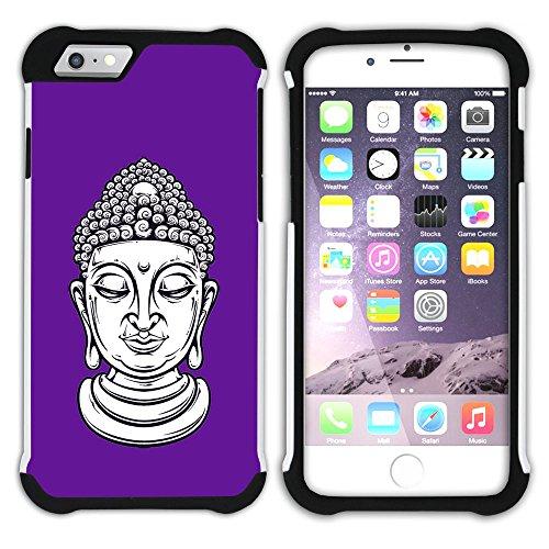 Graphic4You Buddha-Kopf (Orange) Hart + Weiche Kratzfeste Hülle Case Schale Tasche Schutzhülle für Apple iPhone 6 / 6S Lila