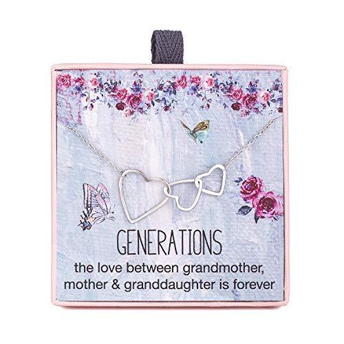 Rarelove Grandma Gifts 3 Generationen Halskette für Großmutter Mutter Enkelin 925 Sterling Silber DREI ineinandergreifende Herzen Anhänger Kette verstellbar von 40,6 bis 53,3 cm Länge Verlängerung (3 Generationen Bilderrahmen)