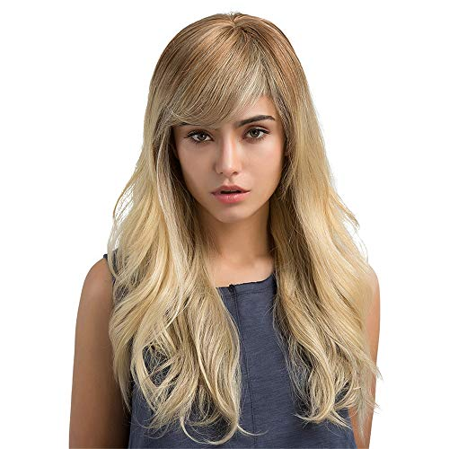 feiXIANG Perruque blonde pour Femme Longue,Cheveux longs bouclés&Perruques cheveux raides haute qualité Perruque Cosplay
