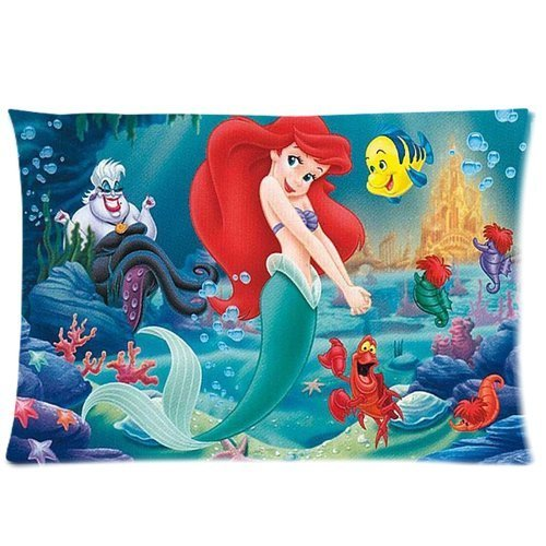 """Disney Funny Cute ARIEL The Little Mermaid Colorful Standard Zippered Pillowcase Cover 20""""x30"""" inch (50X76cm)-Two Sides"""