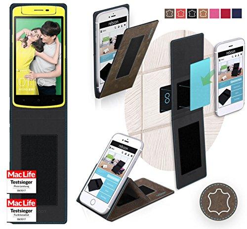 reboon Hülle für Oppo N1 Mini Tasche Cover Case Bumper | Braun Wildleder | Testsieger