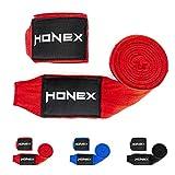 HONEX Combattimento Boxe Bende bendaggi Professionale 4Meter-Elastica con Chiusura in Velcro Extra Largo (Rosso)