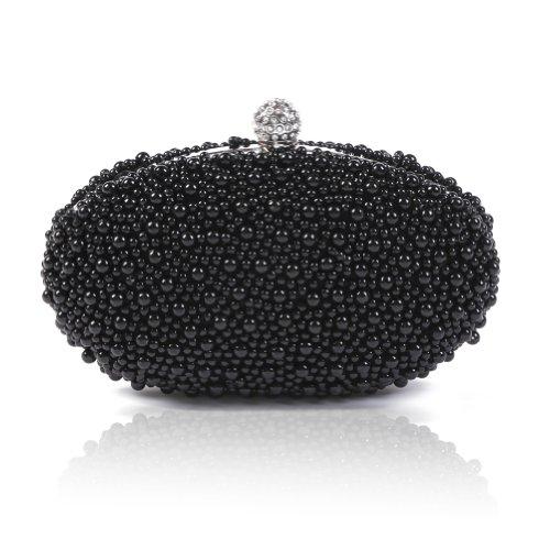 Damara da donna Beads Cristalli chiusura Ellipse Glamour perla sera borsa, nero (Black), Small