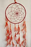 "Lilone Dream Catcher - Home Decoration Birthday Party Gift Dreamcatcher - Circle Diameter 9"" Inch, 8 Layes, 28 Inch Length (Red)"