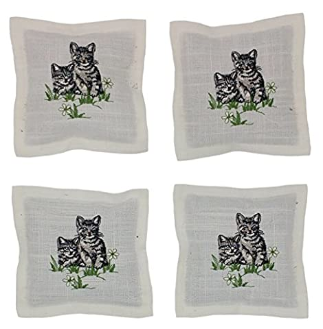 Set of 4Lavender Scented Sachets 35g with Zip Bags of Lavender Filled Scented Sachets Model Blossom Wreath, Chicken Or Cat - grey