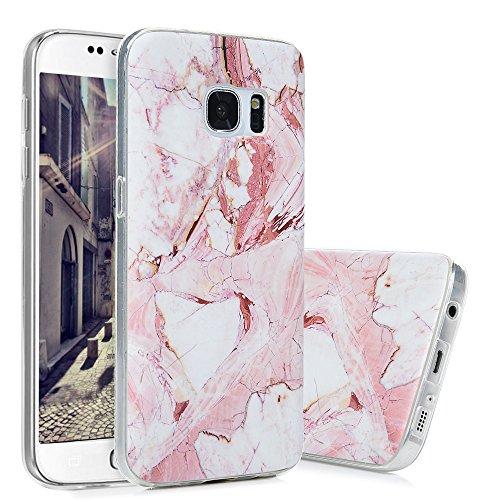 S7 Marmor Hülle, KASOS Marble Handyhülle : Silikon Case Weich TPU Huelle mit IMD Technologie für Samsung Galaxy S7, Rose weiß