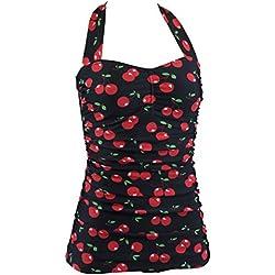Aloha-Beachwear - Cuello Halter, con cerezas (cherry)