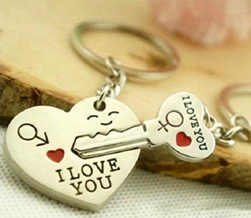 Schlüssel zum Herzen ' I Love You ' Schlüsselanhänger Schlüsselring für Paare / Geliebte im Set