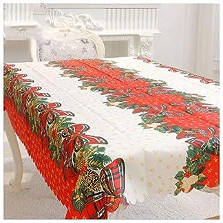 Amacoam Mantel de Navidad Tela Mantel Antimanchas Rectangular Lavable Patrón de Arco Manteles Mesa Rojo y Blanco Decoraciones de Mesa Decoración de Navidad Decoracion Hogar 150×180 cm