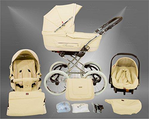 True Love Classic One Plus Kinderwagen Safety-Set (Autositz & ISOFIX Basis, Regenschutz, Moskitonetz, Speichenluftreifen) 05 Eco Beige
